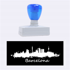 Barcelona City Dark Watercolor Skyline Rubber Stamps (large)