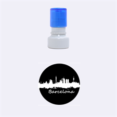 Barcelona City Dark Watercolor Skyline Rubber Round Stamps (small)