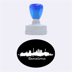 Barcelona City Dark Watercolor Skyline Rubber Oval Stamps