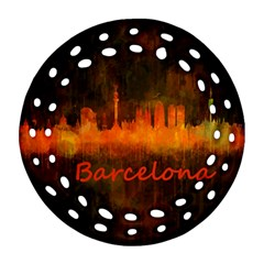 Barcelona City Dark Watercolor Skyline Ornament (round Filigree)