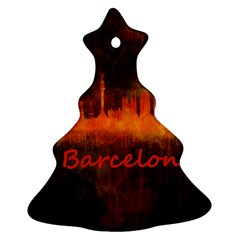 Barcelona City Dark Watercolor Skyline Christmas Tree Ornament (2 Sides)