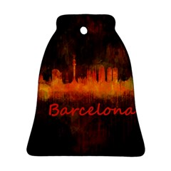 Barcelona City Dark Watercolor Skyline Bell Ornament (2 Sides)
