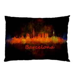 Barcelona City Dark Watercolor Skyline Pillow Cases (Two Sides)