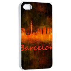 Barcelona City Dark Watercolor Skyline Apple iPhone 4/4s Seamless Case (White)