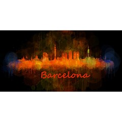Barcelona City Dark Watercolor Skyline YOU ARE INVITED 3D Greeting Card (8x4)