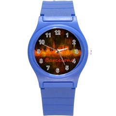 Barcelona City Dark Watercolor Skyline Round Plastic Sport Watch (S)