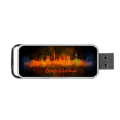 Barcelona City Dark Watercolor Skyline Portable USB Flash (One Side)