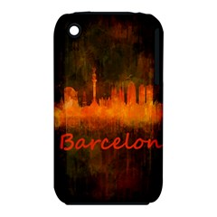 Barcelona City Dark Watercolor Skyline Apple iPhone 3G/3GS Hardshell Case (PC+Silicone)