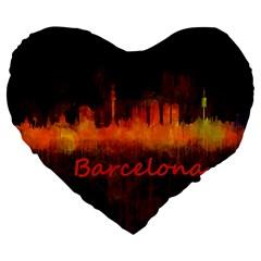 Barcelona City Dark Watercolor Skyline Large 19  Premium Heart Shape Cushions