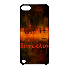 Barcelona City Dark Watercolor Skyline Apple iPod Touch 5 Hardshell Case with Stand