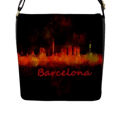 Barcelona City Dark Watercolor Skyline Flap Messenger Bag (L)