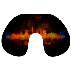 Barcelona City Dark Watercolor Skyline Travel Neck Pillows