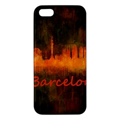 Barcelona City Dark Watercolor Skyline iPhone 5S Premium Hardshell Case