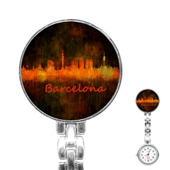 Barcelona City Dark Watercolor Skyline Stainless Steel Nurses Watches