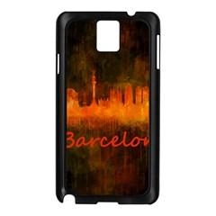 Barcelona City Dark Watercolor Skyline Samsung Galaxy Note 3 N9005 Case (Black)