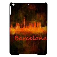 Barcelona City Dark Watercolor Skyline Ipad Air Hardshell Cases