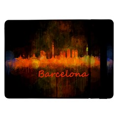 Barcelona City Dark Watercolor Skyline Samsung Galaxy Tab Pro 12.2  Flip Case