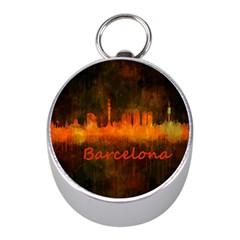 Barcelona City Dark Watercolor Skyline Mini Silver Compasses
