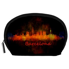 Barcelona City Dark Watercolor Skyline Accessory Pouches (Large)