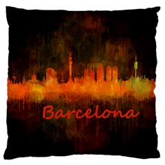 Barcelona City Dark Watercolor Skyline Standard Flano Cushion Cases (one Side)