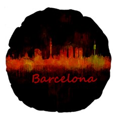 Barcelona City Dark Watercolor Skyline Large 18  Premium Flano Round Cushions