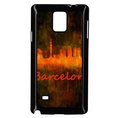 Barcelona City Dark Watercolor Skyline Samsung Galaxy Note 4 Case (Black)