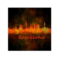 Barcelona City Dark Watercolor Skyline Small Satin Scarf (Square)