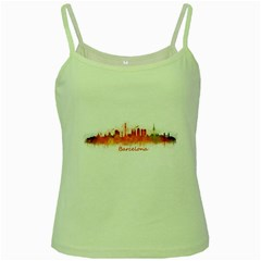 Barcelona City Art Green Spaghetti Tanks
