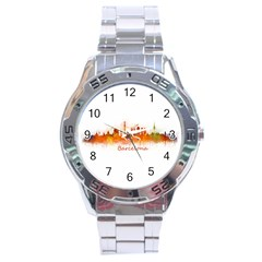 Barcelona City Art Stainless Steel Men s Watch