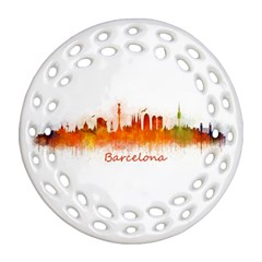 Barcelona City Art Round Filigree Ornament (2side)