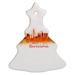 Barcelona City Art Christmas Tree Ornament (2 Sides)