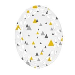 Pastel Random Triangles Modern Pattern Ornament (Oval Filigree)