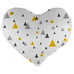 Pastel Random Triangles Modern Pattern Large 19  Premium Heart Shape Cushions