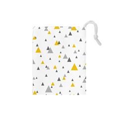 Pastel Random Triangles Modern Pattern Drawstring Pouches (Small)