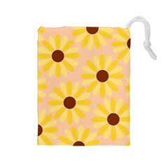 Sunflowers Everywhere Drawstring Pouches (Large)