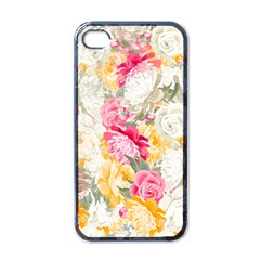 Colorful Floral Collage Apple iPhone 4 Case (Black)