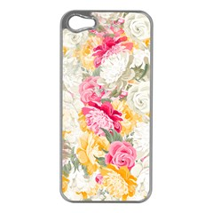 Colorful Floral Collage Apple iPhone 5 Case (Silver)
