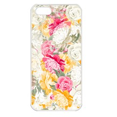 Colorful Floral Collage Apple iPhone 5 Seamless Case (White)