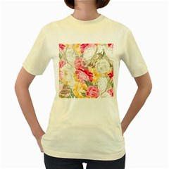 Colorful Floral Collage Women s Yellow T Shirt