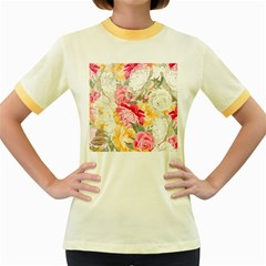 Colorful Floral Collage Women s Fitted Ringer T-Shirts