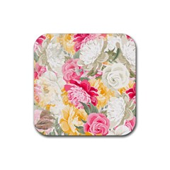 Colorful Floral Collage Rubber Square Coaster (4 pack)