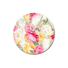 Colorful Floral Collage Magnet 3  (round)
