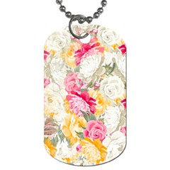 Colorful Floral Collage Dog Tag (One Side)