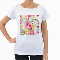 Colorful Floral Collage Women s Loose Fit T Shirt (white)