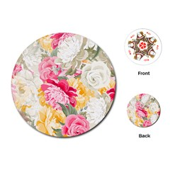 Colorful Floral Collage Playing Cards (round)