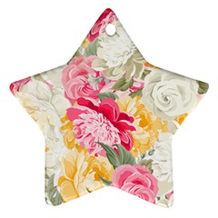 Colorful Floral Collage Star Ornament (Two Sides)