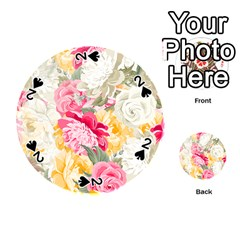 Colorful Floral Collage Playing Cards 54 (round)