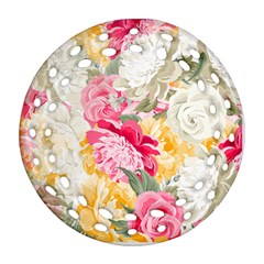 Colorful Floral Collage Ornament (Round Filigree)
