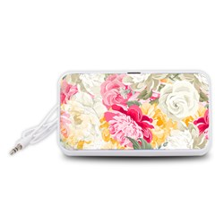 Colorful Floral Collage Portable Speaker (White)