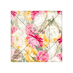 Colorful Floral Collage Acrylic Tangram Puzzle (4  x 4 )